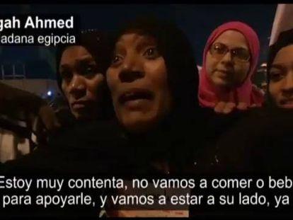 Celebração pela vitória de Al Sisi no Egito.