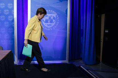 Kristalina Georgieva, após uma coletiva de imprensa em Washington, em 4 de março.
