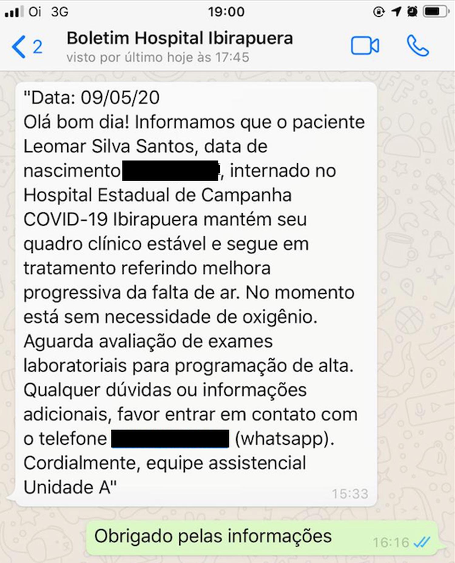Boletim médico enviado por mensagem de celular para a família de Leomar.
