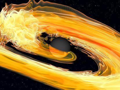 Representação da fusão entre um buraco negro, no centro, e uma estrela de nêutrons.