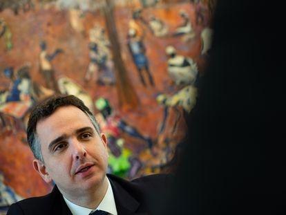 O presidente do Senado, Rodrigo Pacheco, em entrevista ao EL PAÍS, em Brasília.