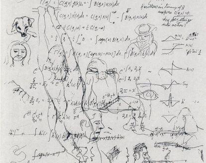 Equações e desenhos de Richard Feynman.