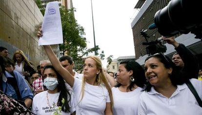Lilian Tintori, em um protesto nesta semana.