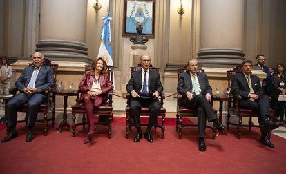 Os juízes da Suprema Corte da Argentina na abertura do ano judicial, em 19 de março de 2019. Horacio Rosatti, o novo presidente do tribunal, é o primeiro à direita.