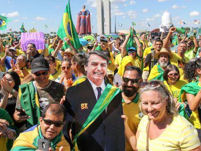 Ato em apoio ao governo de Jair Bolsonaro na Esplanada dos Ministérios, em Brasília.