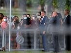 Brazil's President Jair Bolsonaro meets supporters as he arrives at Alvorada Palace, amid the coronavirus disease (COVID-19) pandemic, in Brasilia, Brazil, July 19, 2021. REUTERS/Adriano Machado