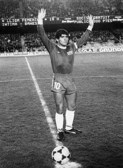 Maradona, com Argentinos Juniors no Camp Nou em 1979.