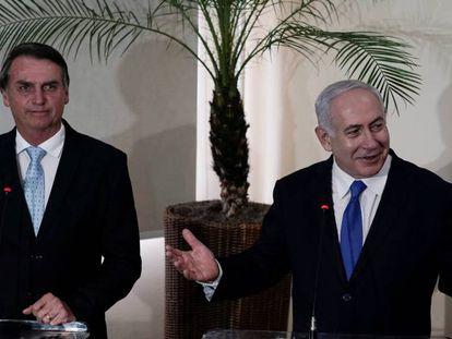 Bolsonaro e o premiê israelense Benjamin Netanyahu no Rio.