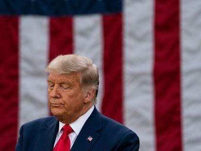 Donald Trump, durante seu pronunciamento à imprensa, na sexta-feira na Casa Branca.