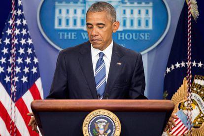 Obama, em uma pausa durante sua intervenção.