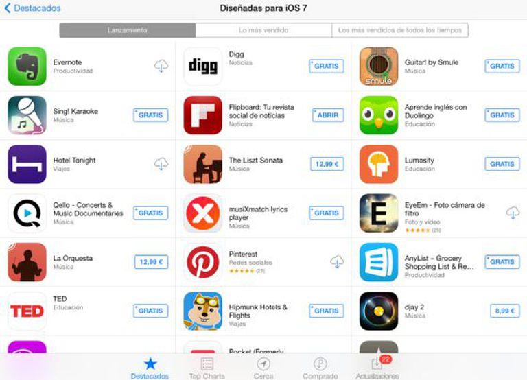 Aplicativos para iOS 7 na AppStore.