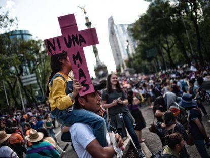 Uma manifestação contra a violência machista na Cidade do México.