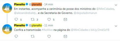 """Em meio às especulações, Twitter do Planalto chegou a """"demitir"""" Antônio Imbassahy e anunciar Marun"""