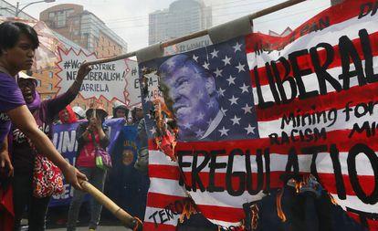 Protesto nas Filipinas.