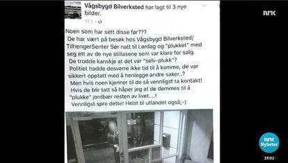 Tor Sigurd Bransdal compartilhou as imagens dos supostos assaltantes através da página do Facebook de sua oficina.