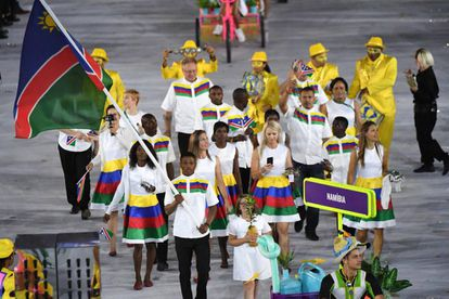 O porta-bandeira Jonas Junias Jonas no dia da cerimônia de abertura.