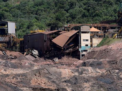 O rastro de destruição em Brumadinho após rompimento da barragem da Vale.
