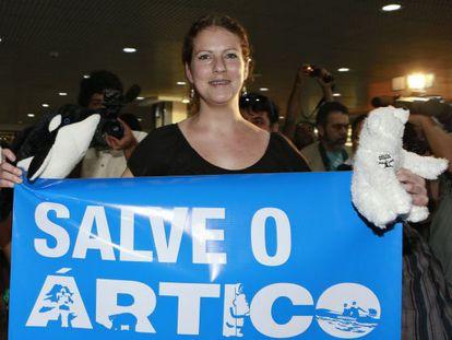 Ana Paula Maciel na chegada ao Brasil. / REUTERS /Edison Vara