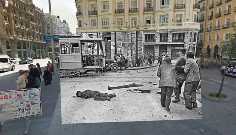 Um cadáver caído em Madri na Guerra Civil.