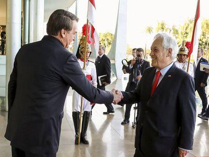 Bolsonaro recebe Piñera no Palácio da Alvorada.