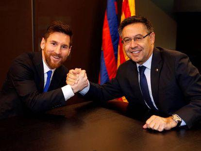 Messi e Bartomeu, em novembro passado
