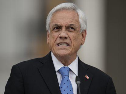 O presidente do Chile, Sebastián Piñera, durante entrevista coletiva na segunda-feira, no palácio de La Moneda.