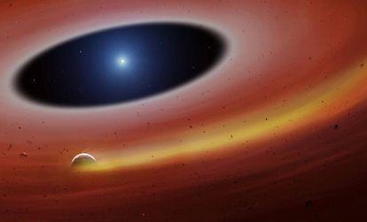 Representação da anã branca, no centro, e do fragmento planetário que a orbita.