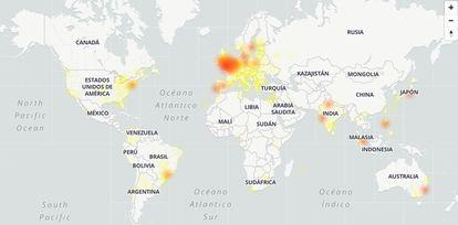 Mapa com lugares onde foram informadas falhas no Google às 9h desta segunda-feira.