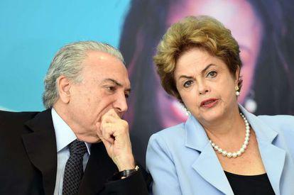Temer e Rousseff nesta terça-feira, em Brasília.