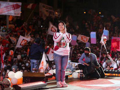 A candidata presidencial Keiko Fujimori participa de ato de campanha na quinta-feira, 3 de junho, em Lima.