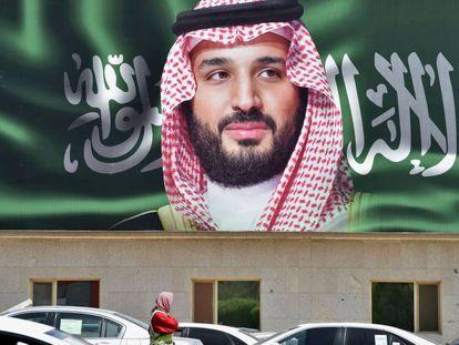 Foto do príncipe herdeiro, Mohamed bin Salman (MBS), em Riad, Arábia Saudita.