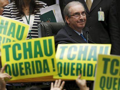 Cunha na sessão em que a Câmara dos Deputados aprovou o impeachment de Dilma Rousseff, em 17 de abril de 2016.