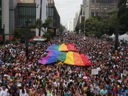Parada Gay em São Paulo.