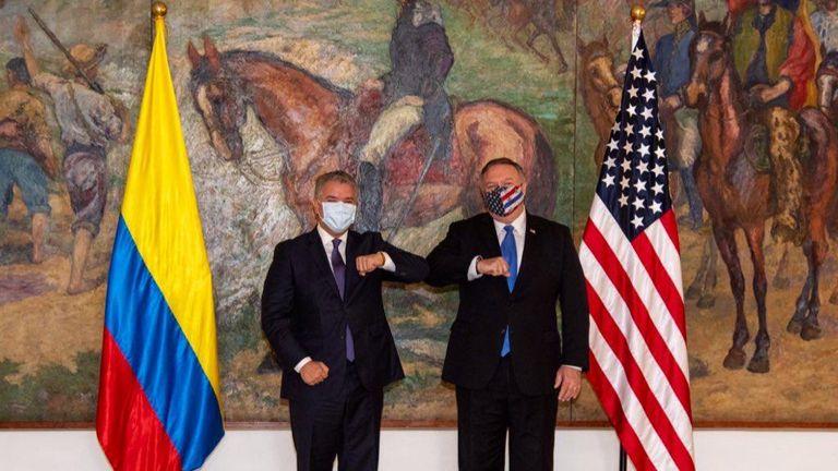 Iván Duque e Mike Pompeo na Casa de Nariño, em Bogotá.