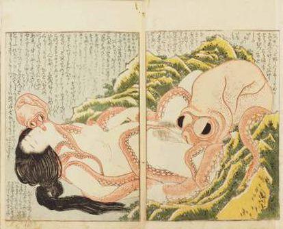'O Sonho da Mulher do Pescador', xilogravura de Hokusai