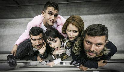 Douglas Layme, Davi Xavier, Isabelle Strobel, Sofia de Carvalho e Aslan Cabral, do coletivo Saquinho de Lixo.