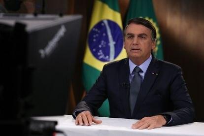Jair Bolsonaro durante gravação de discurso para a 75ª Assembleia Geral da ONU.
