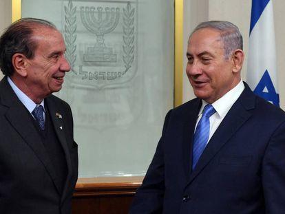 O primeiro-ministro de Israel, Benjamin Netanjahyu (à direita), e Aloysio Nunes, nesta terça-feira, 27 de fevereiro