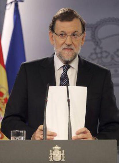Mariano Rajoy, nesta terça-feira, durante pronunciamento depoisdo anúncio da pretensão de se criar o Estado catalão.