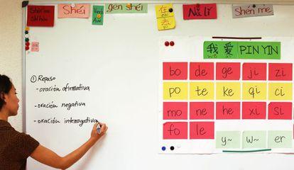 Aula de chinês na escola de idiomas Bunkyo, em Madri.