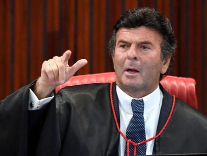 O presidente do STF, Luiz Fux, durante durante julgamento do Tribunal